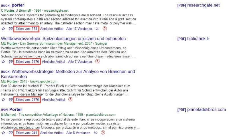 Screenshot: Google Scholar Anzahl Zitationen