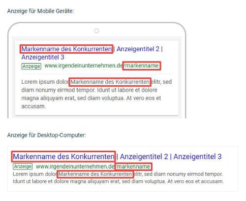 Beispiel für nicht legales Brand-Bidding mit Markenname in Anzeigentext