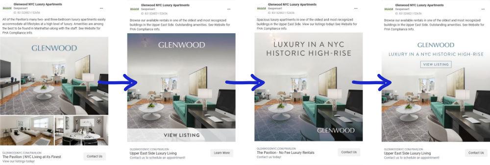 Facebook Ads: Diversifikation der Creatives und Anzeigentexte (c) Glenwood Luxury Apartments