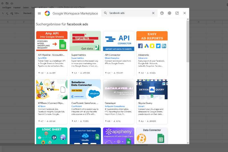 Google Sheets Facebook Ads Add-Ins