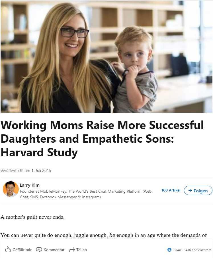 Larry Kims LinkedIn-Beitrag zur Harvard Studie